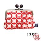 【日本製】貓小紋帆布系列 3.8寸萬用口金包 鈴貓咪圖案 SD-7038 - 日本製 貓帆布系列