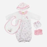 【愛的世界】純棉小蝴蝶長袖兩用嬰衣5件組禮盒/3~6個月-台灣製- ★禮盒推薦