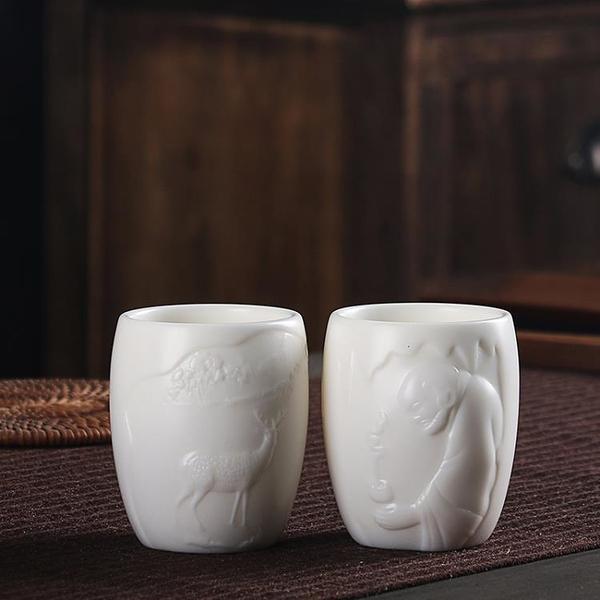 陳德根 德化羊脂玉豬油白高白陶瓷浮雕大號個人杯主