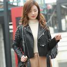 女皮衣外套 皮衣外套修身韓版PU鉚釘流蘇皮夾克 S-2XL #llf027051 ❤卡樂❤