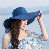 沙灘帽子女夏海邊草帽出游度假防曬遮陽帽大寬沿太陽帽涼帽可折疊