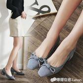 韓版2018春季新款方頭淺口單鞋蝴蝶結學生瑪麗珍鞋粗跟中跟女鞋子 檸檬衣捨