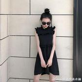 復古港味夏裝新款女百搭短褲木耳邊小黑裙無袖顯瘦A字洋裝艾美時尚衣櫥