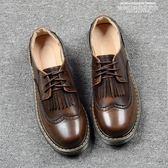 娃娃鞋英倫小皮鞋女冬季新款復古學院風日繫流蘇雕花平底娃娃鞋 【6月特惠】