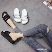 夏季鬆糕鞋新款外穿chic拖鞋ins鬆糕時尚涼拖厚底一字拖  朵拉朵衣櫥