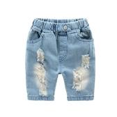 沙灘褲破洞牛仔褲短褲 寶寶正韓沙灘褲子夏季裝新款童褲 兒童五分褲