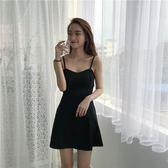 2019夏季韓版性感無袖V領露肩吊帶連身裙a字沙灘裙 伊蒂斯女裝