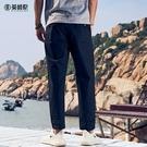 2020春夏 男士休閒九分褲歐美簡約寬鬆直筒 潮流時尚褲子【果果新品】