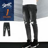 長褲-雙膝補丁刷色牛仔褲-刷破造型款《9998519》黑色【現貨】『SMR』