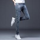 春夏薄款彈力牛仔褲男士休閒修身復古百搭透氣小腳長褲男生潮褲子 設計師