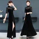 越南旗袍洋裝 春季新款絲絨旗袍長款經典黑色新式改良版旗袍連身裙A字大擺裙子