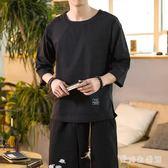棉麻上衣大碼夏季亞麻短袖T恤男寬鬆日系復古休閒上衣 QX2797 『愛尚生活館』