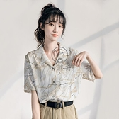 v領碎花雪紡襯衫女短袖夏襯衣法式復古韓版氣質有垂感上衣【小酒窩】