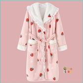 睡袍 草莓睡衣可愛甜美冬加厚加長款夾棉浴袍冬季刷毛睡袍女秋冬T M-XL