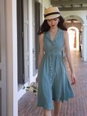 藍色掛脖無袖連身裙收腰顯瘦氣質2019新款夏法式復古山智熏裙子 韓流時裳