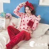 睡衣-珊瑚絨睡衣女冬季韓版秋草莓甜美可愛公主風家居服法蘭絨加厚保暖-奇幻樂園