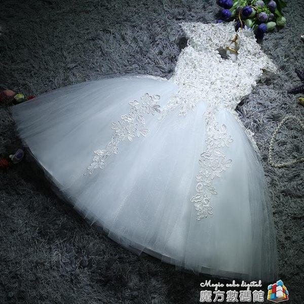 兒童禮服公主蓬蓬裙花童女童婚紗生日鋼琴主持演出服晚禮服白色夏 igo 魔方數碼館