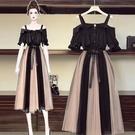 兩件式洋裝 套裝大碼女裝2021洋氣春夏裝顯瘦新款胖妹妹連衣裙兩件套裝 歐歐
