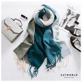 Catworld 湖綠拼色仿羊絨圍巾【18003417】‧F