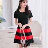 韓版顯瘦女裝修身大碼時尚百搭針織短袖洋裝 韓語空間