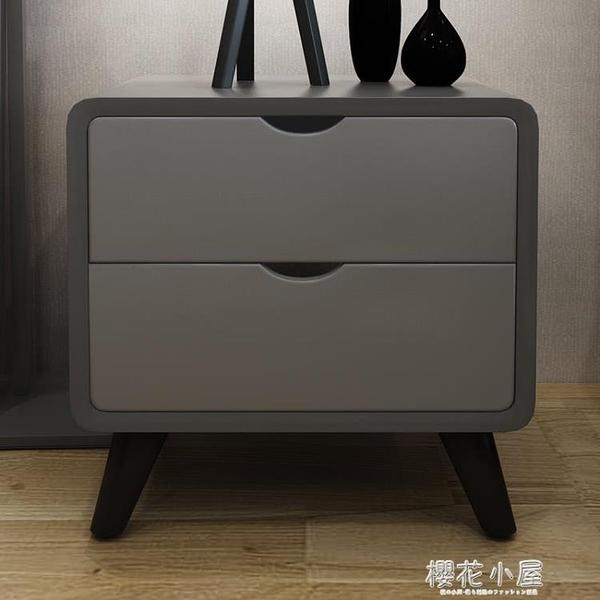 北歐床頭櫃 現代簡約小戶型迷你木質收納櫃烤漆創意床邊小櫃子『櫻花小屋』