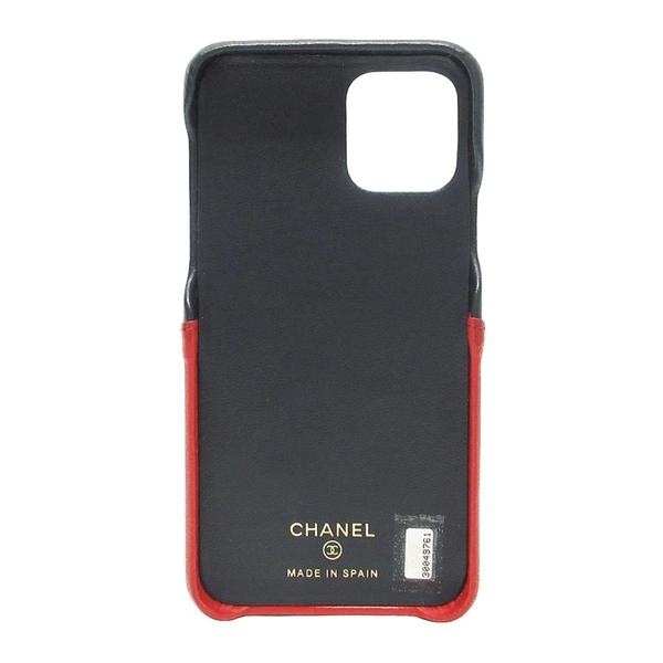 CHANEL 香奈兒 海軍藍X紅菱格羊皮手機殼 iPhone XI Case【二手名牌BRAND OFF】