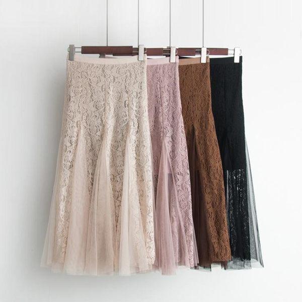 春裝新款韓版鏤空鉤花拼接網紗半身裙女高腰蕾絲包臀荷葉邊魚尾裙 麻洋