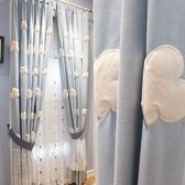 白云朵朵藍色田園韓式兒童房男孩女孩臥室窗簾半遮光成品紗簾短窗 【店慶活動明天結束】