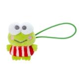 小禮堂 大眼蛙 造型絨毛彈力髮圈 玩偶髮束 絨毛髮圈 (綠紅 全身) 4550337-97644