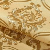 壁紙3D立體歐式大馬士革壁紙防水金色溫馨臥室客廳工程電視背景墻墻紙可卡衣櫃 免運