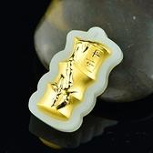 金鑲玉項鍊 和闐玉吊墜-竹子造型生日情人節禮物男女飾品73gf25【時尚巴黎】