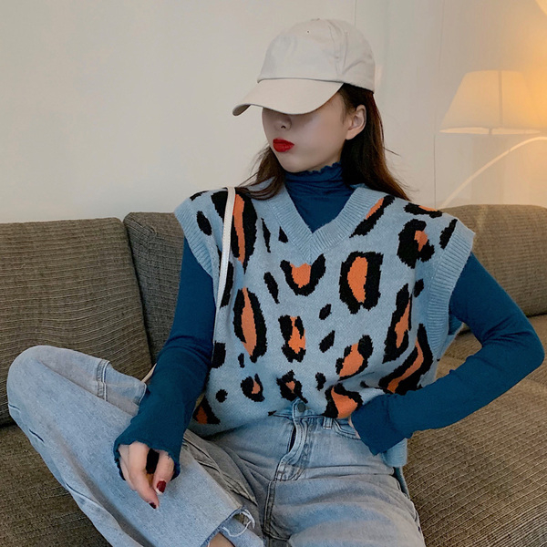 秋季女裝豹紋針織背心外套毛衣女寬鬆外穿內搭t恤打底衫
