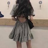露背洋裝 2020夏裝新款韓版顯瘦休閒百搭荷葉邊短裙子心機露背短袖連身裙女 小宅女