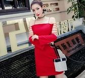 現貨红M實拍新款女裝名媛性感露肩黑色短裙一字肩吊帶洋裝連身裙禮服25168