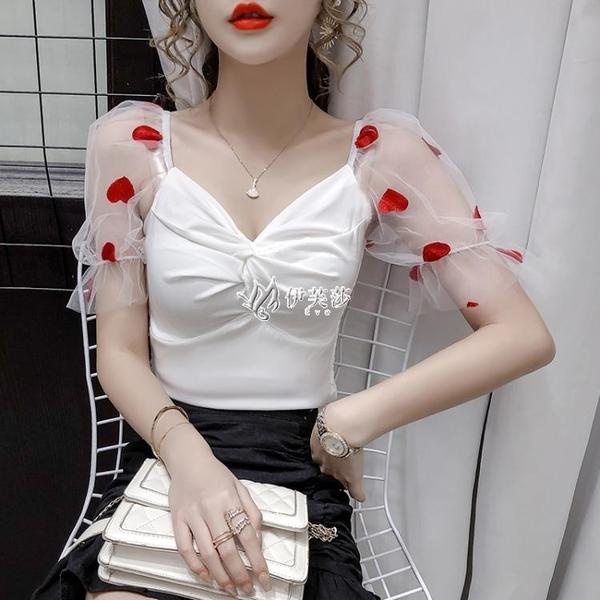低胸上衣 法式網紗短袖白色襯衫女夏短款修身一字肩性感低胸V領超仙上衣ins