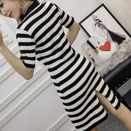 EASON SHOP(GU6234)冰絲針織黑白條紋後開叉圓領連身裙女洋裝中長款長版彈力貼身包臀裙韓版緊身