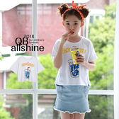 男童上衣 女童上衣 側邊開岔字母塗鴉杯子短袖上衣 韓國外貿中大童 QB allshine