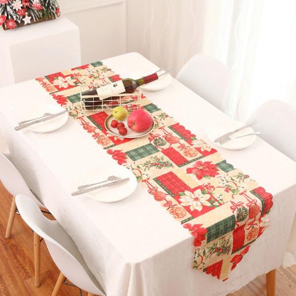 【BlueCat】聖誕節點點花邊格子拐杖棒棒糖印花桌墊 隔熱墊