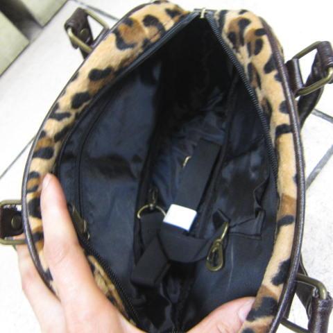 ~雪黛屋~LIAN 手提包小型時尚豹紋防水絨布+皮革辣妹可手提肩背斜側背輕巧隨身 88-62080