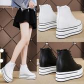 高筒鞋年新款隱形內增高女鞋10CM高筒顯瘦小白鞋坡跟厚底運動休閒鞋 限時特惠