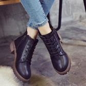秋女靴子英倫風馬丁靴短靴學生中跟粗跟百搭棉靴保暖靴潮優家小鋪