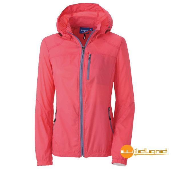 【wildland 荒野】女RE彈性抗UV透氣輕薄外套 粉橘 0A31991