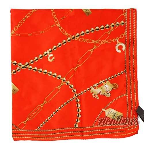 【裕代 COACH】亮橘珠鍊圖樣領巾 CC5C7912