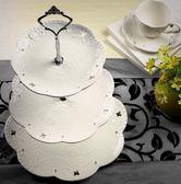 陶瓷水果盤歐式三層點心盤蛋糕盤多層糕點盤客廳創意糖果托盤架子【快速出貨八折優惠】