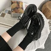 英倫風女鞋復古厚底單鞋高跟漆皮繫帶百搭鬆糕軟妹小皮鞋女   『歐韓流行館』