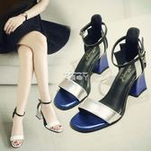 韓版夏季新款涼鞋女高跟露趾粗跟一字扣高跟鞋拼色女涼鞋女鞋 俏腳丫