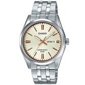 【CASIO】 大器星期日期顯示指針紳士錶-金面X玫瑰金刻度(MTP-1335D-9A)