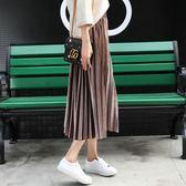 【優選】時尚金絲絨百褶裙黑色長裙冬天