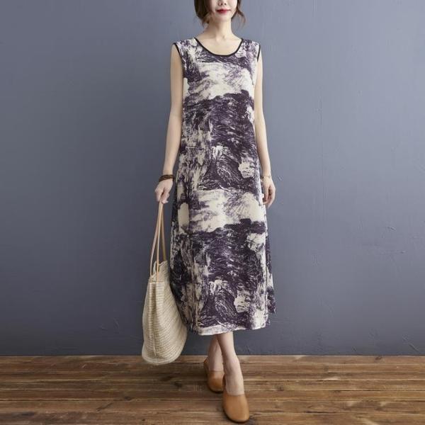中大尺碼 無袖洋裝 復古文藝印染無袖連身裙大碼女遮肚顯瘦休閒氣質減齡圓領口袋長裙