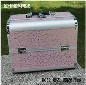 新款手提大號化妝箱專業化妝師必備紋繡工具箱彩妝箱(大號金 粉色閃電紋)